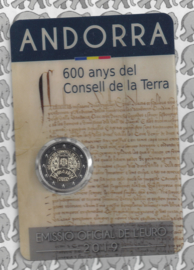"""Andorra 2 euromunt CC 2019 (11e) """"600 Jaar Aarderaad"""", in coincard"""