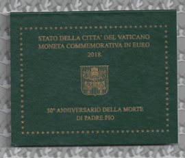 "Vaticaan 2 euromunt CC 2018 ""50ste sterfdag Pater Pio"" (in blister)"