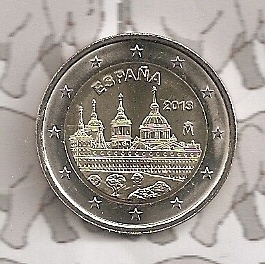 """Spanje 2 euromunt CC 2013 (8e)""""Klooster van het Escorial, Madrid"""""""