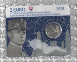 """Slowakije 2 euromunt CC 2019 """"100e gedenkdag van het overlijden van Milan Rastislav Štefánik"""" (in coincard)"""