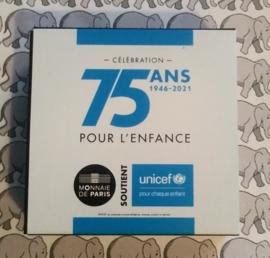 """Frankrijk 2 euromunt CC 2020 (25e) """"75 jaar Unicef"""", proof in doosje met certificaat"""