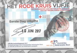 """Nederland 5 euromunt 2017 """"Rode Kruis vijfje"""" (1e dag van uitgifte coincard in envelopje)"""
