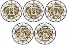 """Duitsland 2 euromunt CC 2013 """"Elysee verdrag met Frankrijk"""" (5 Letters)"""
