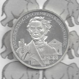 """Duitsland 10 euromunt 2003 (7e) """"200e Verjaardag Justus van Liebig"""" (nikkel)."""