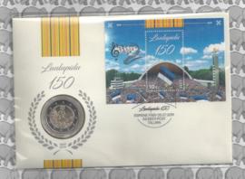 """Estland numisbrief 2019 met 2 euromunt """"150 Jaar Estisch Zangfeest"""" en postzegelblokje"""