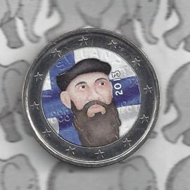 """Finland 2 euromunt CC 2013 """"125ste geboortedag van Nobelprijs winnaar F.E. Sillanpaa"""" (kleur 2 x)"""