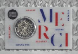 """Frankrijk 2 euromunt CC 2020 (24e) """"Medisch onderzoek"""", in coincard """"Merci"""""""