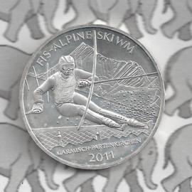 "Duitsland 10 euromunt 2010 (50e) ""FIS Alpine Ski WM 2011"" (zilver)."