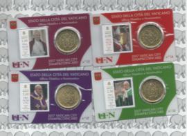 4 x Vaticaan 50 eurocent 2017 in coincard met postzegel, nummer 14, 15, 16 en 17