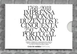 """Portugal 2 euromunt CC 2018 """"250-jarig bestaan van de Nationale Drukkerij"""" proof in blister"""