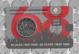 "België 2 euromunt CC 2018 ""50 jaar mei 1968"" in coincard Nederlandse versie"