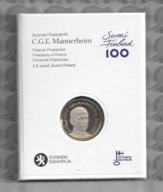 """Finland 5 euromunt 2017 """"Presidenten, Mannerheim"""" (56e), proof in doosje"""