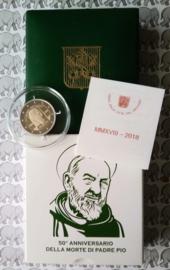 """Vaticaan 2 euromunt CC 2018 """"50ste sterfdag Pater Pio"""", proof in doosje met certificaat"""