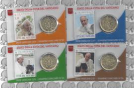 4 x Vaticaan 50 eurocent 2020 in coincard met postzegel, nummer 32, 33, 34 en 35