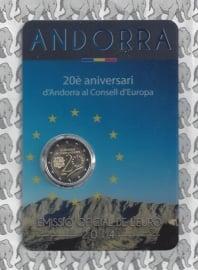 """Andorra 2 euromunt CC 2014 (1e)""""20 jaar sinds het toetreden tot de raad van de EU"""" in coincard"""
