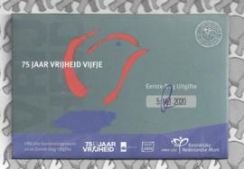 "Nederland 5 euromunt 2020 (45e) ""75 jaar vrijheid vijfje"" (1e dag van uitgifte coincard in envelopje)"