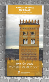 "Spanje 2 euromunt CC 2020 ""Mudejar architectuur van Aragon"", proof in blister"