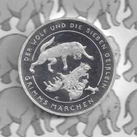 """Duitsland 20 euromunt 2019 (21e) """"De wolf en de 7 geitjes"""", zilver"""