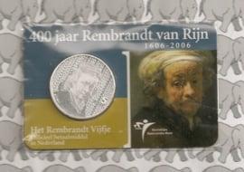 """Nederland 5 euromunt 2006 """"400 jaar Rembrandt van Rijn"""" (in coincard, zilver)"""