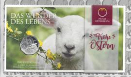 """Oostenrijk 5 euromunt 2017 (32e) """"Paaslammetje"""" (zilver in blister)"""