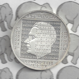 """Duitsland 10 euromunt 2010 (46e) """"100e Verjaardag Konrad Zuse"""" (zilver)."""
