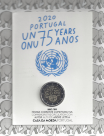 """Portugal 2 euromunt CC 2020 (25e) """"75 Jaar Verenigde Naties"""" BU in blister"""