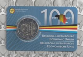 """België 2 euromunt CC 2021 (26e) """"100 jaar Belgisch-Luxemburgse Economische Unie"""" in coincard Nederlandse versie"""