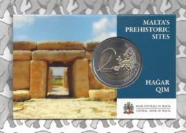 "Malta 2 euromunt CC 2017 ""Tempels van Hagar Qim"", met muntteken Monnaie de Paris in bladwijzer."