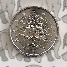 """Spanje 2 euromunt CC 2007 (2e)""""Verdrag van Rome"""""""