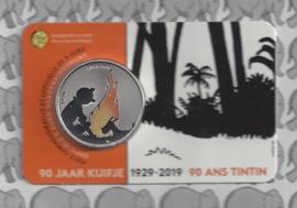 "België 5 euromunt 2019 ""90 jaar Kuifje"" (kleur), in coincard"