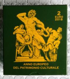"""Vaticaan 2 euromunt CC 2018 """"Europees jaar van het Cultureel Erfgoed"""", proof in doosje met certificaat"""