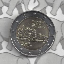 """Malta 2 euromunt CC 2017 """"Tempels van Hagar Qim"""", met muntteken Monnaie de Paris."""
