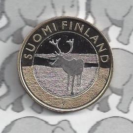 """Finland 5 euromunt 2015 (38e) """"Rendier, provincie Lapland"""""""