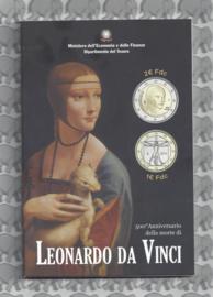 "Italië 2 euromunt CC 2019 ""500e sterfdag van Leonardo Da Vinci"", samen met 1 euro 2019 in blister"