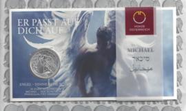 """Oostenrijk 10 euromunt 2017 """"Michael de beschermengel"""". 31e,Zilver in blister."""