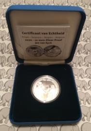 """België 10 euromunt 2020 """"Gotiek - Jan van Eyck"""", proof, zilver in blauw doosje met certificaat"""