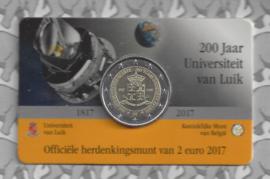 "België 2 euromunt CC 2017 ""Universiteit van Luik"" in coincard Nederlandse versie"