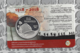 "België 5 euromunt 2018 ""100 jaar wapenstilstand en herintreding vrede"", in coincard"