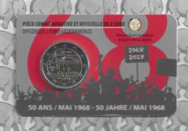 """België 2 euromunt CC 2018 """"50 jaar mei 1968"""" in coincard Franse versie"""