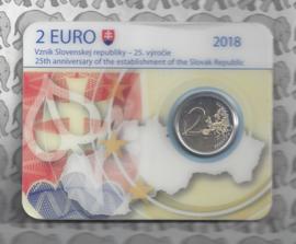 """Slowakije 2 euromunt CC 2018 """"25 jaar republiek Slowakije"""" (in coincard)"""