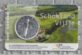 "Nederland 5 euromunt 2018 (39e) ""Schokland vijfje"" (BU, met nummer in coincard)"