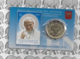 Vaticaan 50 eurocent 2014 in coincard met postzegel, nummer 5