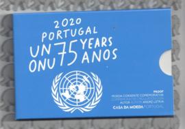 """Portugal 2 euromunt CC 2020 (25e) """"75 Jaar Verenigde Naties"""" proof in blister"""