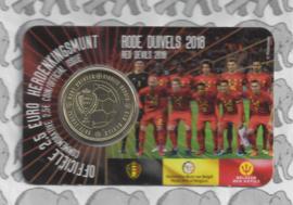 """België 2,5 euromunt 2018 """"Rode Duivels"""" in coincard Nederlandse versie"""