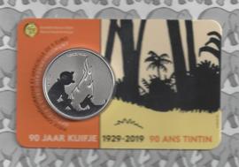 """België 2 x 5 euromunt 2019 """"90 jaar Kuifje"""" (geen kleur en kleur), in coincard"""