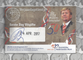 "Nederland 5 euromunt 2017 ""Verjaardagstientje"" (1e dag van uitgifte coincard in envelopje)"
