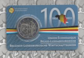 """België 2 euromunt CC 2021 (26e) """"100 jaar Belgisch-Luxemburgse Economische Unie"""" in coincard Franse versie"""