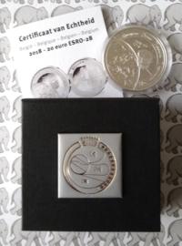 """België 20 euromunt 2018 """"ESRO-2B"""", Proof, zilver in doosje met certificaat"""