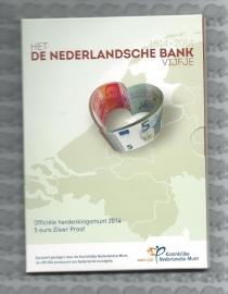 """Nederland 5 euromunt 2014 """"200 jaar Nederlandsche Bank"""" (zilver, proof in blister)"""