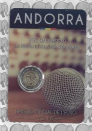 """Andorra 2 euromunt CC 2016 """"25 jaar Radio en televisie omroep van Andorra"""" in coincard"""